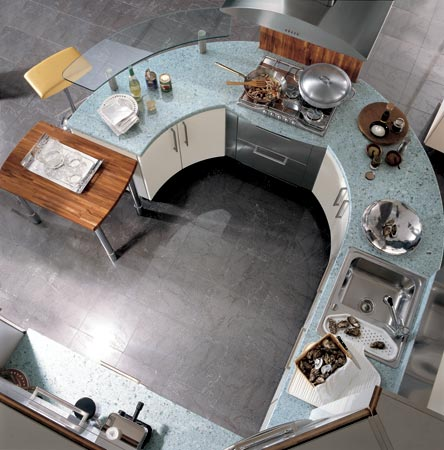 carma kitchen milea 2 Circular Kitchen from Carma Cucine   new Milea ergonomically shaped kitchen
