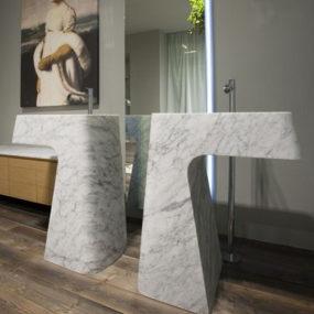 Carrara Marble Washbasin Pipa by Antonio Lupi