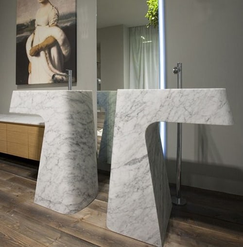 carrara marble washbasin pipa antonio lupi 1 Carrara Marble Washbasin Pipa by Antonio Lupi