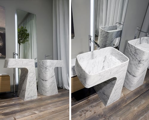 carrara marble washbasin pipa antonio lupi 2 Carrara Marble Washbasin Pipa by Antonio Lupi