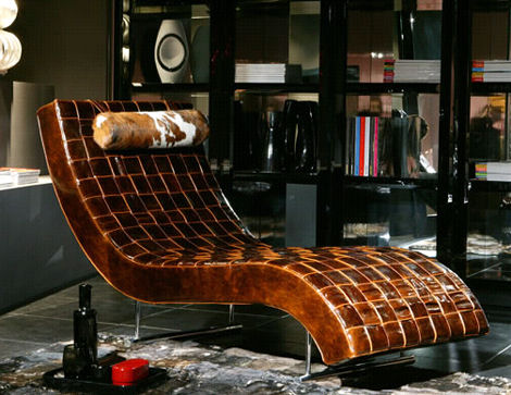Furniture & Comfortable Leather Lounge Chair - Cross Leg Chair by Magnus Long