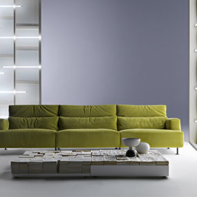 Light Green Sofa Aire by Cassina – disassemblable and recyclable