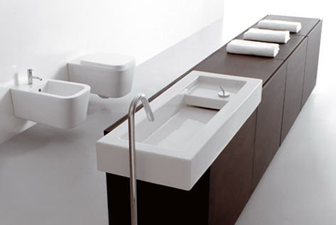 Innovative Italian bathroom design – Space Stone bathroom line from Ceramica Globo – the Open Space concept