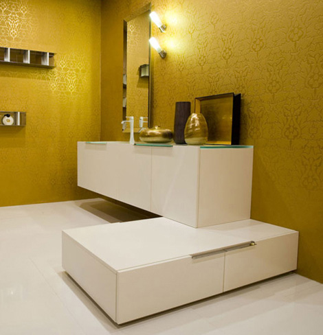 Cerasa Noah bath vanity in matt rough white finish