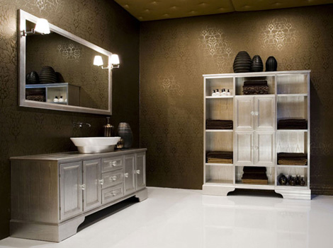 cerasa paestum bath vanity in silver leaf finish