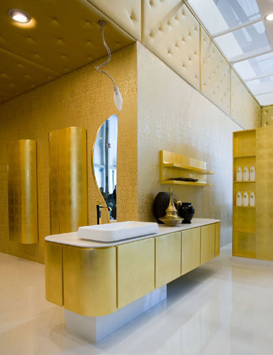 Cerasa Suede Bathroom Vanity Gold Leaf Finish Modern Italian Bath Vanities  From Cerasa