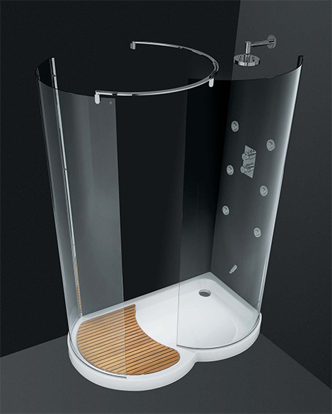 Walk-In Shower by Cesana – Eclisse curved shower enclosures with walk-in area!