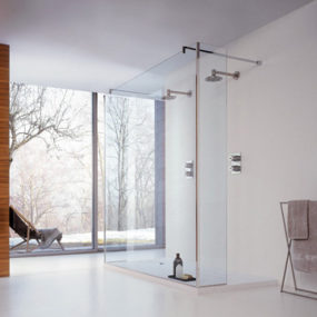Glass Shower Panels for corner and niche by Cesana – Logic Horizon shower with walk-in entry
