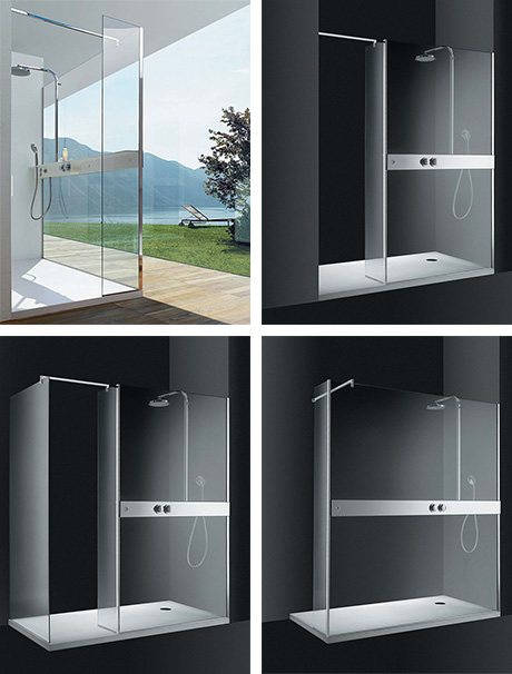 cesana shower panels logic horizon corner niche Glass Shower Panels for corner and niche by Cesana   Logic Horizon shower with walk in entry