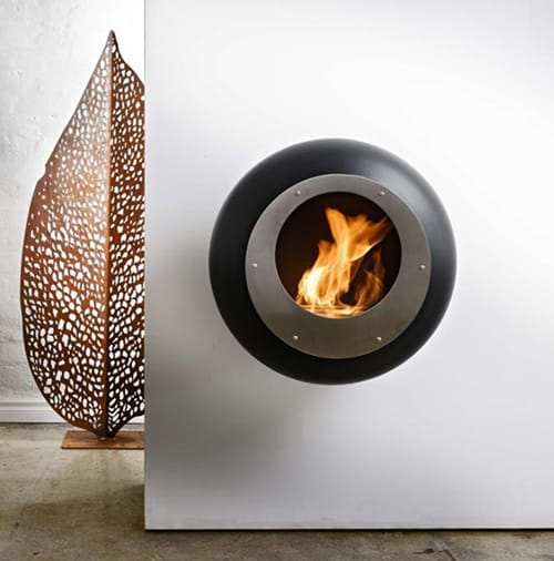 Round Wall Mount Fireplace In Mirror Finish Stainless Steel