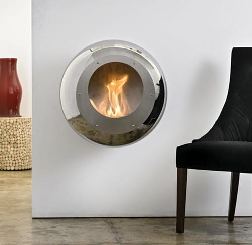 Round Wall Mount Fireplace In Mirror