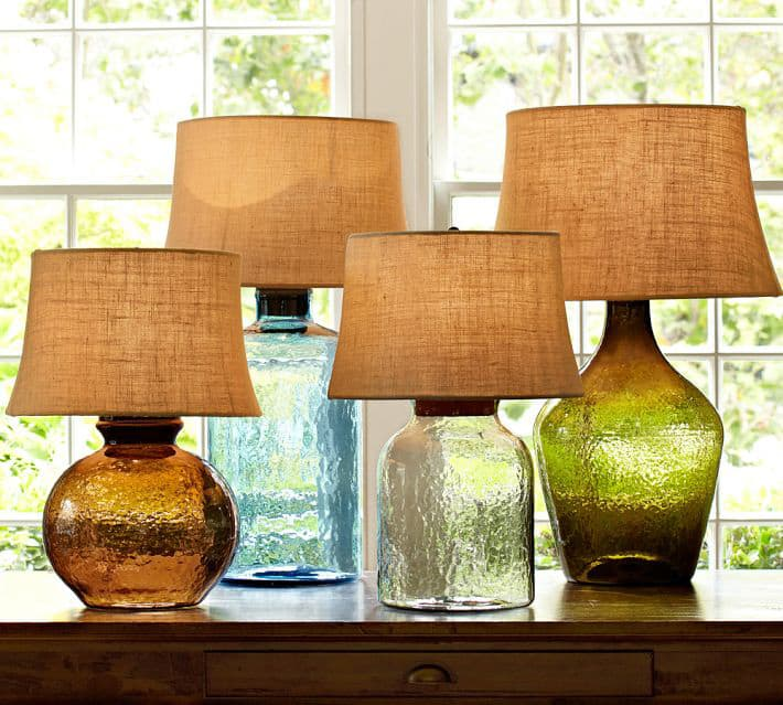 Colored Glass Table Lamps From Pottery Barn Clift Collection