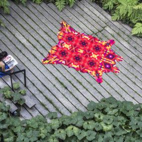Colorful Huichol Rug by Elissa Medina