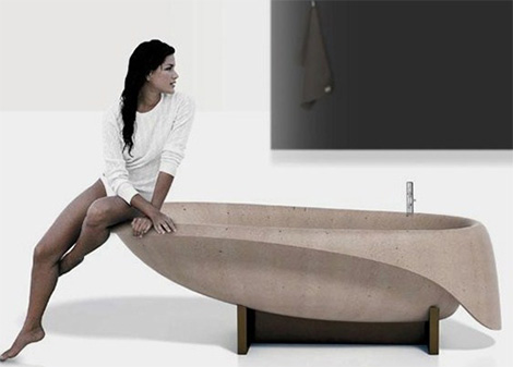 concrete bathtub glassIdromassaggio Modern Concrete Bathtub by Glass Idromassaggio