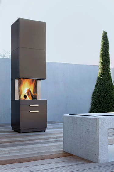conmoto outdoor fireplace nero 1 Garden Fireplace Design   new fireplace with storage Nero by Conmoto