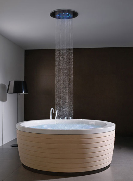 contemporary round bathtub skirt porcelanosa 1 Contemporary Round Bathtub with Skirt by Porcelanosa   new Soleil Round