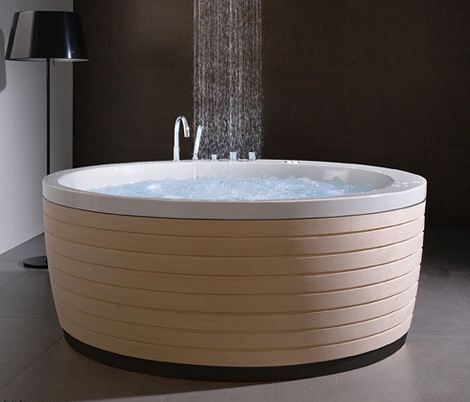 contemporary round bathtub skirt porcelanosa Contemporary Round Bathtub with Skirt by Porcelanosa   new Soleil Round