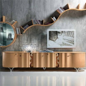 Contemporary Sideboard: Mistral with Curved Doors, by Carpanelli