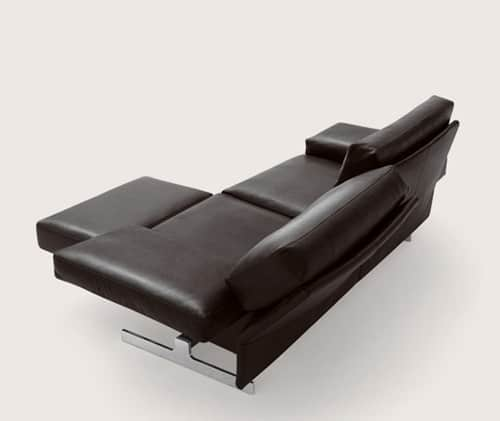 Leather Sofa With Adjustable Back Rests And Movable
