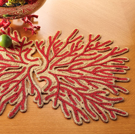 coral design linens Coral Design Linens by Kim Seybert from Horchow   Dress your table for the holidays
