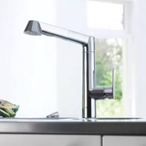 New Grohe Kitchen Faucet   The Bridgeford Pull Out Transitional Faucet