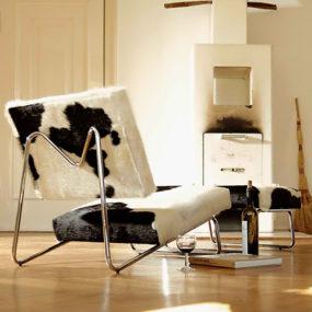 Cowhide Lounge Chair by Herbert Hirche