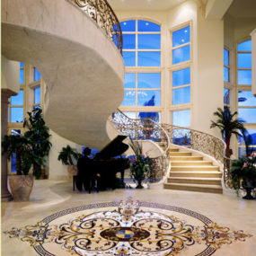 Custom stone medallions from Creative Edge – the natural stone decorative flooring
