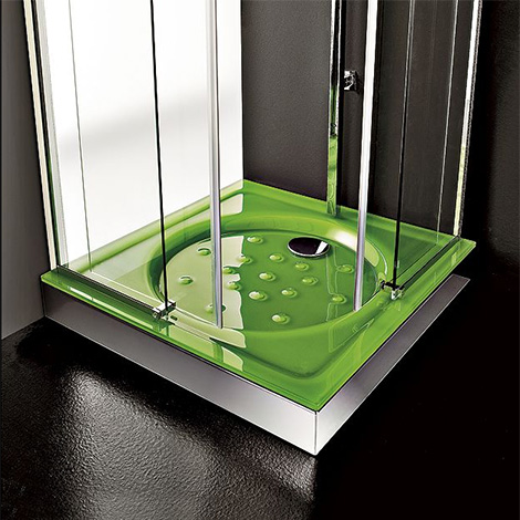 cristalquattroshower1 Contemporary Shower Base by Cristalquattro   rectangular shower tray with glass slats