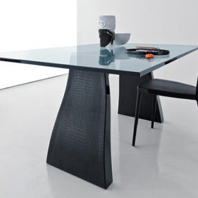 Crocodile Leather Table and Chairs – 'Trend' dining set by Compar