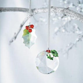 Crystal & Holly Christmas Ornaments – made from Austrian Crystal