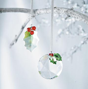 crystal and holly christmas ornaments crystal holly christmas ornaments made from austrian crystal - Crystal Christmas Decorations