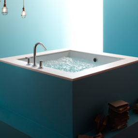 Cube Bathtub – new Underscore Cube BubbleMassage Bath by Kohler