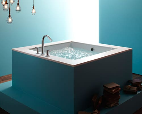 Cube Bathtub - new Underscore Cube BubbleMassage Bath by Kohler