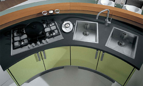 cucine lube kitchen katy 2 Contemporary kitchen by Cucine Lube   Katy rounded kitchen design
