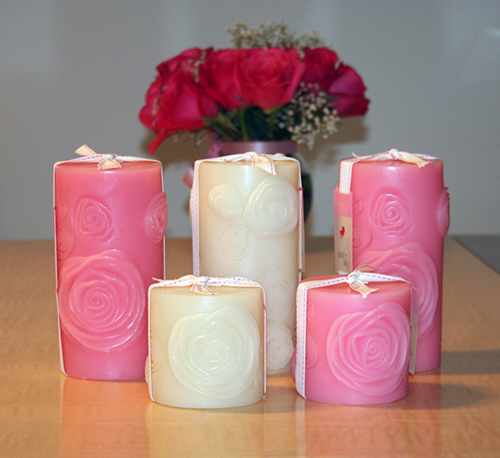 debi lilly pink white roses pillar candles 2 Valentines Day on a Budget by Lillian Pikus