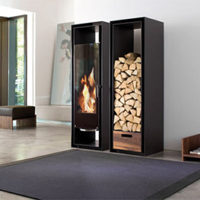 Decorative Fireplace Ideas: built-in cabinets fireplace with wood storage by Conmoto