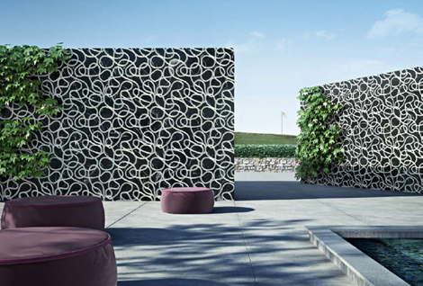 Three dimensional tiles modern marble cladding graffiti by decormarmi for Exterior wall tile design ideas