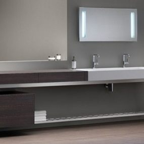Bath Vanity with Built-in Dressing Table by Dedecker