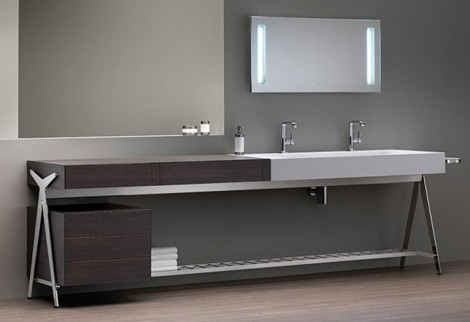 modern bathroom vanities.  Bath Vanity with Built in Dressing Table by Dedecker
