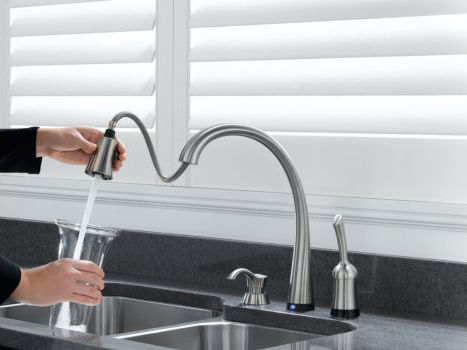Touch Activated Kitchen Faucet Delta Pilar Pull Down