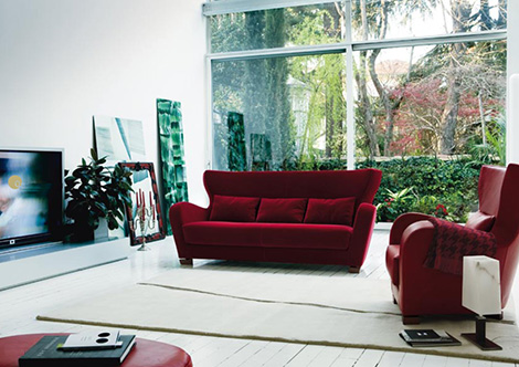 Dema Quota Furniture: sofa in Deep Red velvet