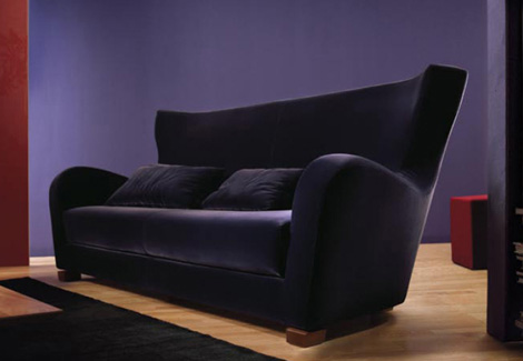 Dema Quota Furniture: high-backed Savoya Alta sofa in Deep Purple velvet