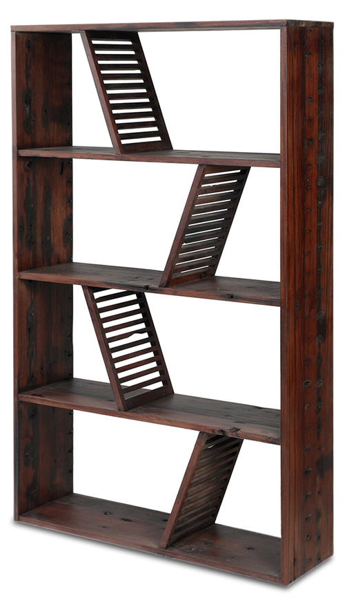 Designer Reclaimed Wood Bookcase Shipwood Dark Fashion For