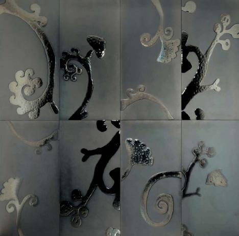 designetalestudioparetiplatinum Luxury Tiles by DesignTaleStudio   24 karat Gold & Platinum tiles