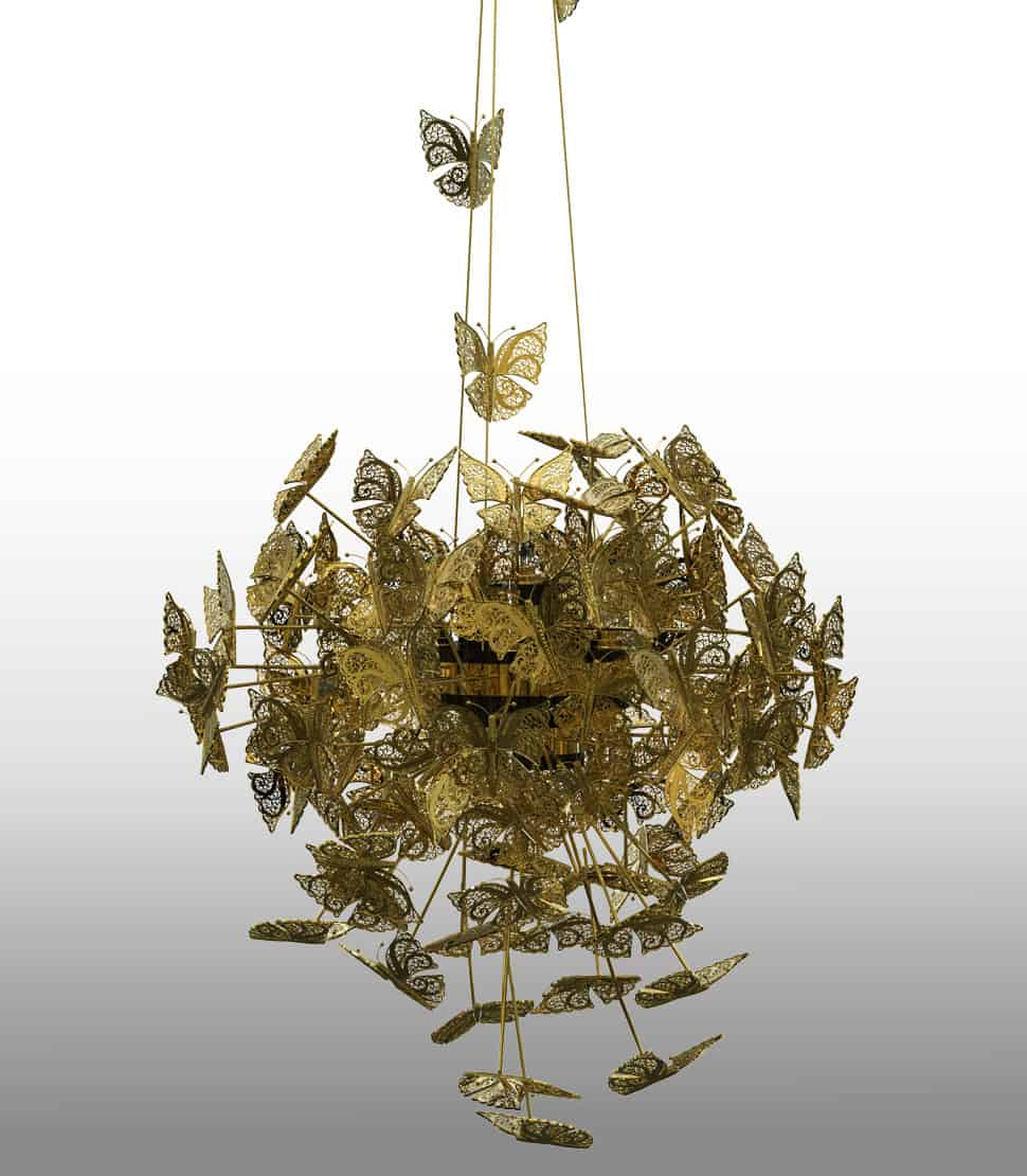 Divine bronze butterfly chandelier by koket for Moderne kronleuchter