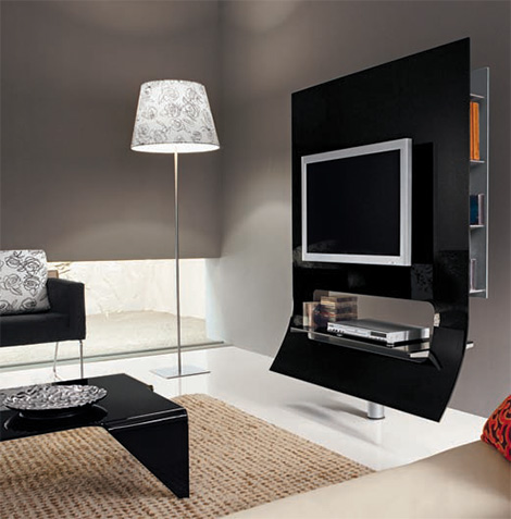 doimoidea tv stand virgola black Modern TV stand from Doimoidea   the sleek Virgola stand