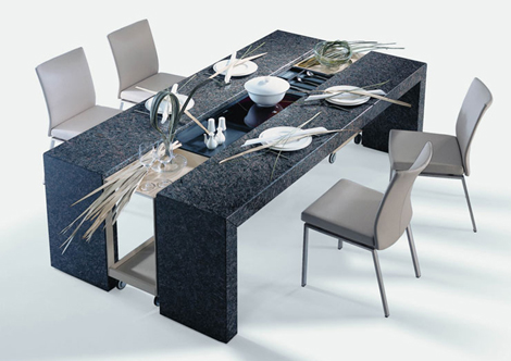 Expandable Dining Table by Draenert – Poggenpohl adjustable table design