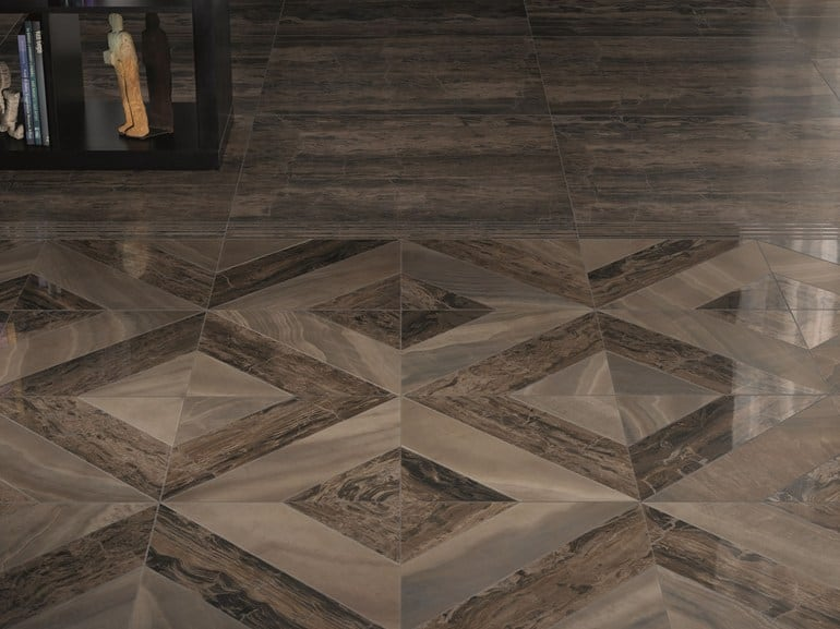 View In Gallery Dramatic Porcelain Floor Tile With Marble Effect By