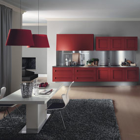 Red Painted Kitchen Cabinets – dramatic oak kitchen Melograno by Composit