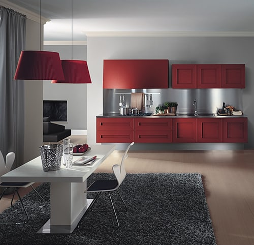 dramatic red kitchen melograno composit painted oak 1 Red Painted Kitchen Cabinets   dramatic oak kitchen Melograno by Composit